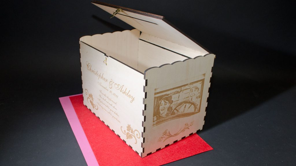 Personalized Wedding CARD BOX, laser engraved box featuring box corner joints