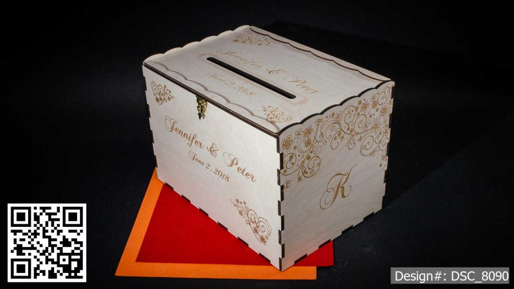 Baltic Birch Wedding CARD BOX personalized for Jennifer and Peter